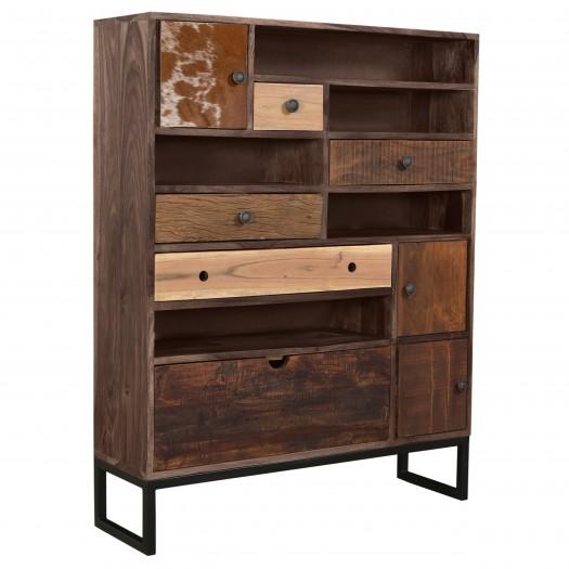 Commode haute Balbir multi-tiroirs en bois