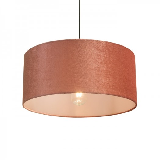Suspension stecy abat-jour ronde en velours rose