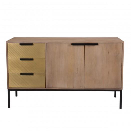 Buffet anais en bois de manguier et métal doré 3 tiroirs 2 portes