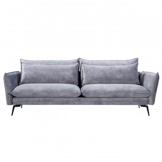 Canapé amaury 3 places en velours bleu gris et pieds en métal