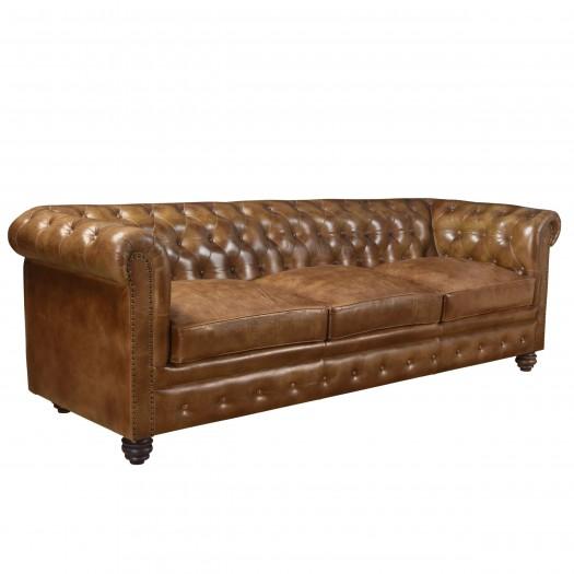 Canapé 3 places Chesterfield en cuir