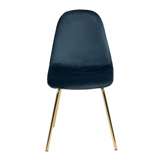 Chaise jena style art déco en velours bleu et pieds en métal finition laiton (lot de 2)