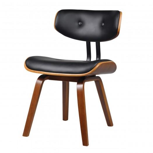 Chaise avec dossier en PU noir rembourré et pieds en bois plaqué