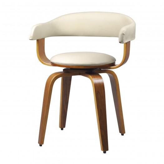 Chaise pivotante en PU blanc et pieds en bois plaqué noyer