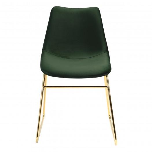 Chaise mona en velours vert foncé pieds traîneaux dorés (lot de 2)
