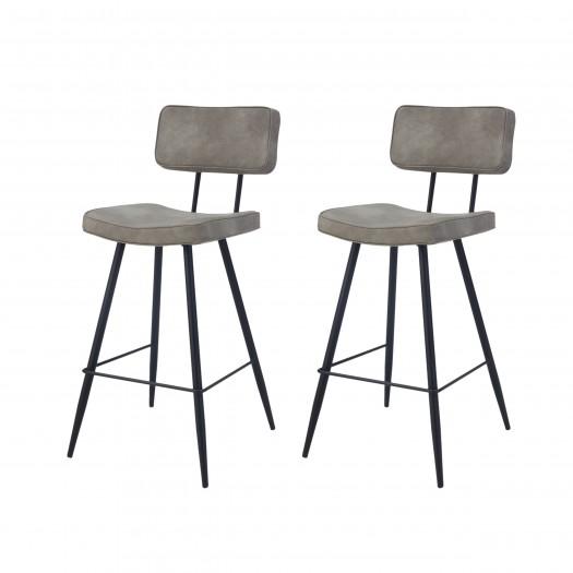 Chaise de bar Loft grise (lot de 2)