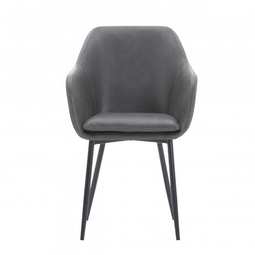 Chaise molly de salle à manger en similicuir gris foncé