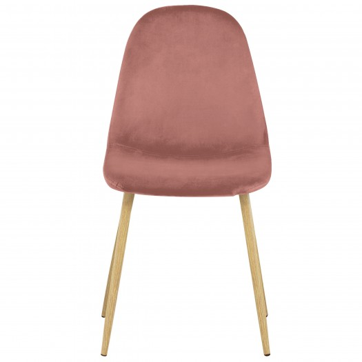 Chaise Olga en velours rose poudré (lot de 2)