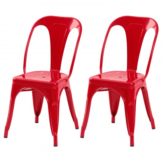 Chaise en métal Atelier rouge brillant (lot de 2)