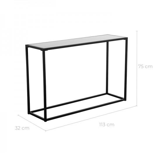Console manon en verre et céramique effet marbre