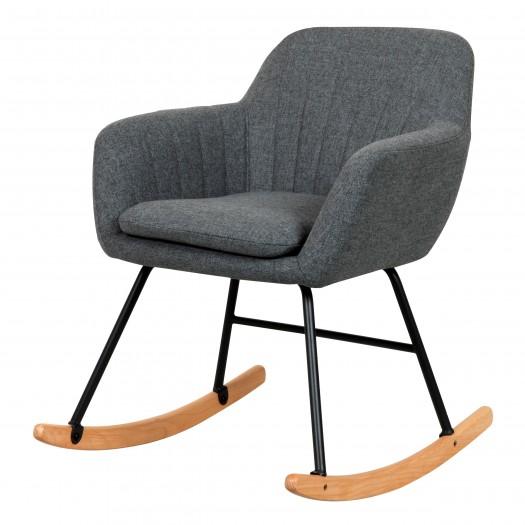 Rocking-chair gris et pieds en métal et bois