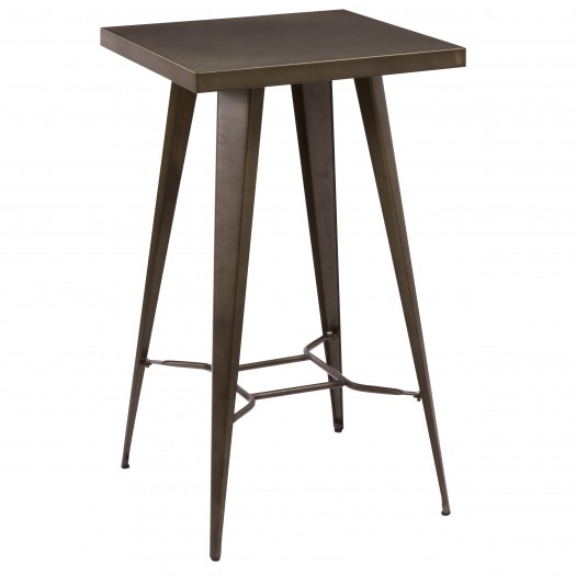 Table de bar carrée diamètre 60 cm en métal