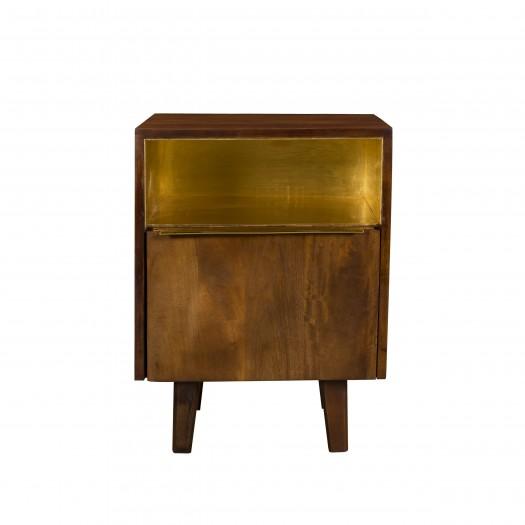 Table de chevet Kelyn en bois de manguier et laiton