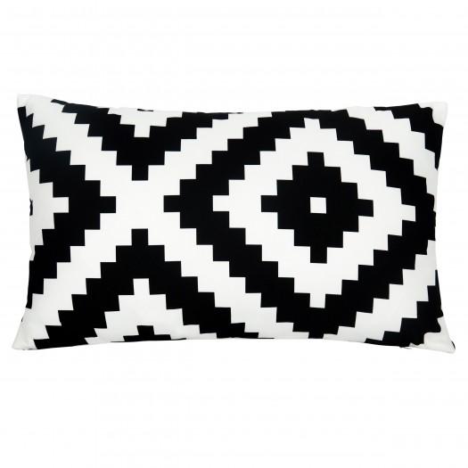 Coussin décoratif rectangulaire 30x50 cm imprimé noir et blanc déhoussable