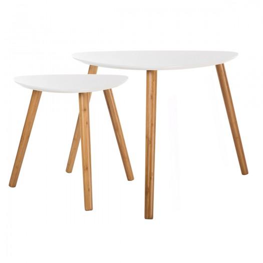 Tables basses gigognes en bois blanches