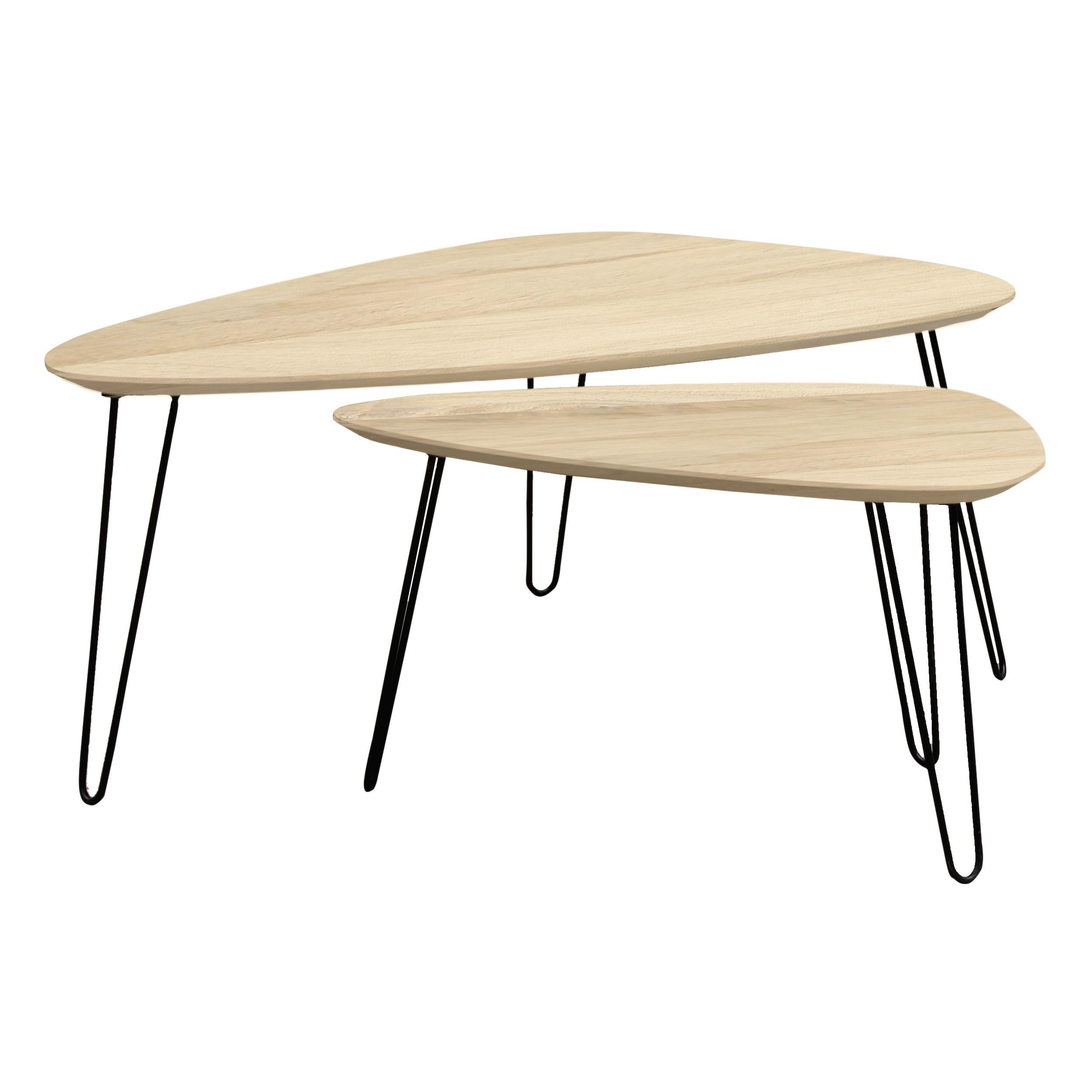 Table Basse Gigogne Bois.Table Basse Gigogne En Bois Aspen Lot De 2