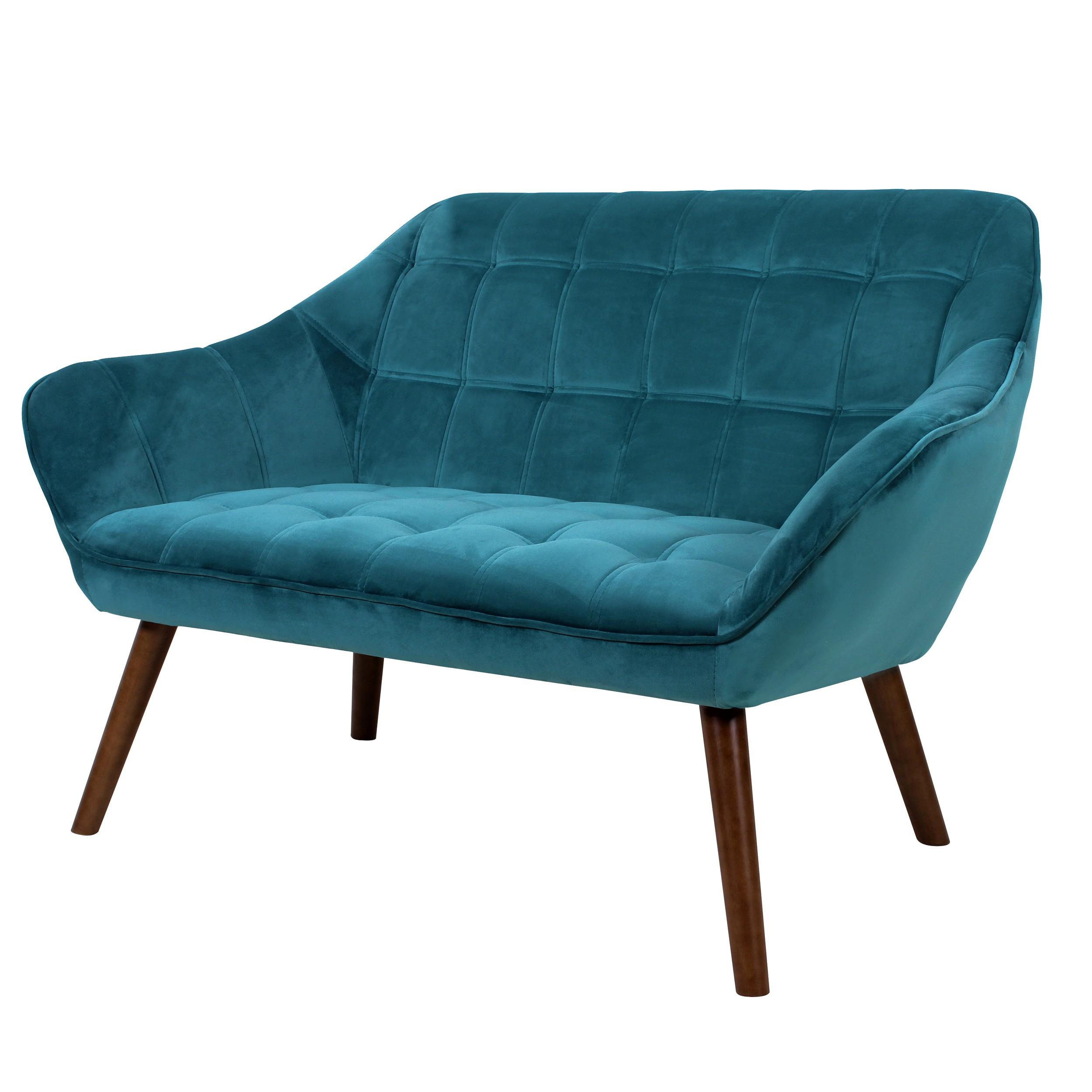 Canapé Benjamin 2 places en velours bleu turquoise