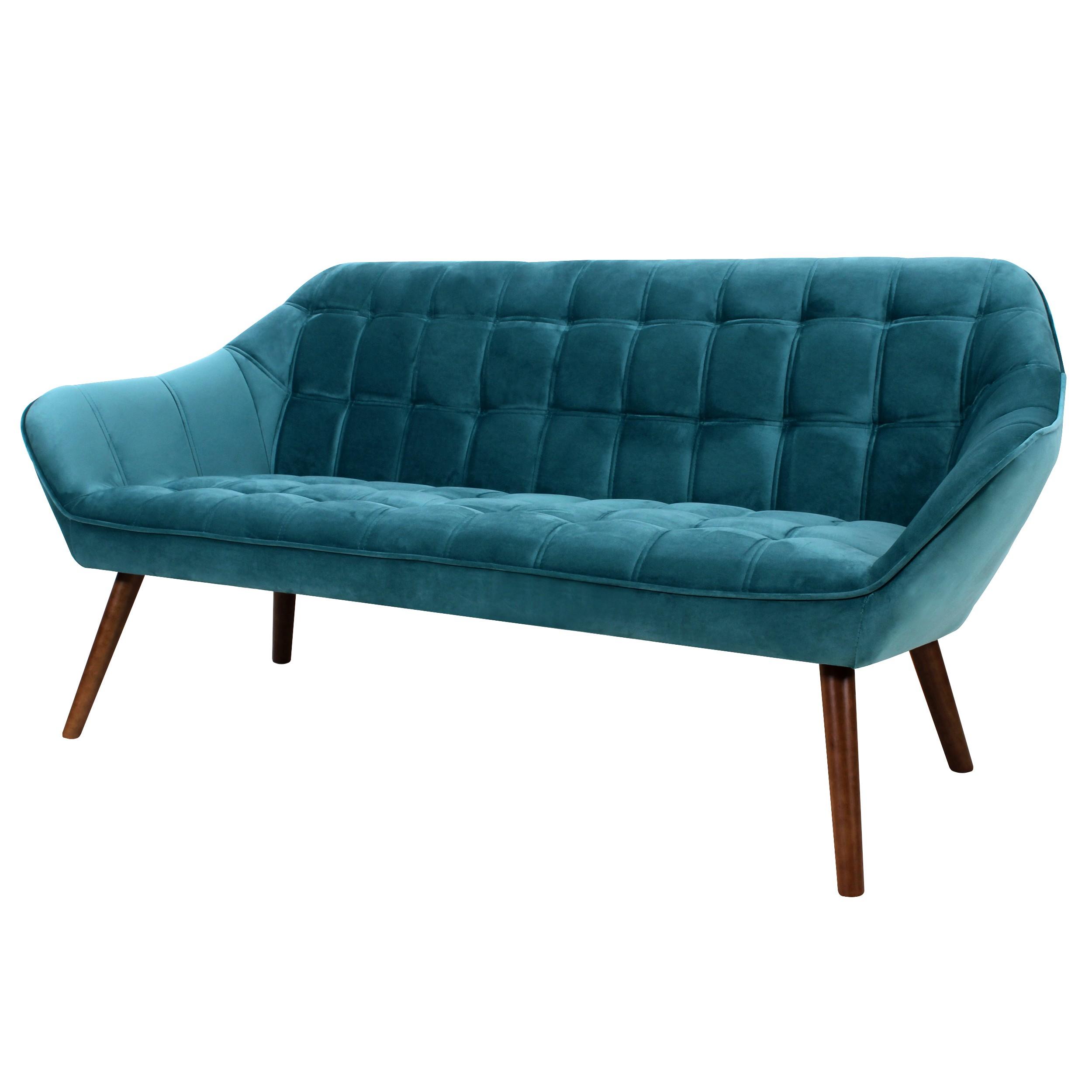 Canapé Benjamin 3 places en velours bleu turquoise - Design Lab ...