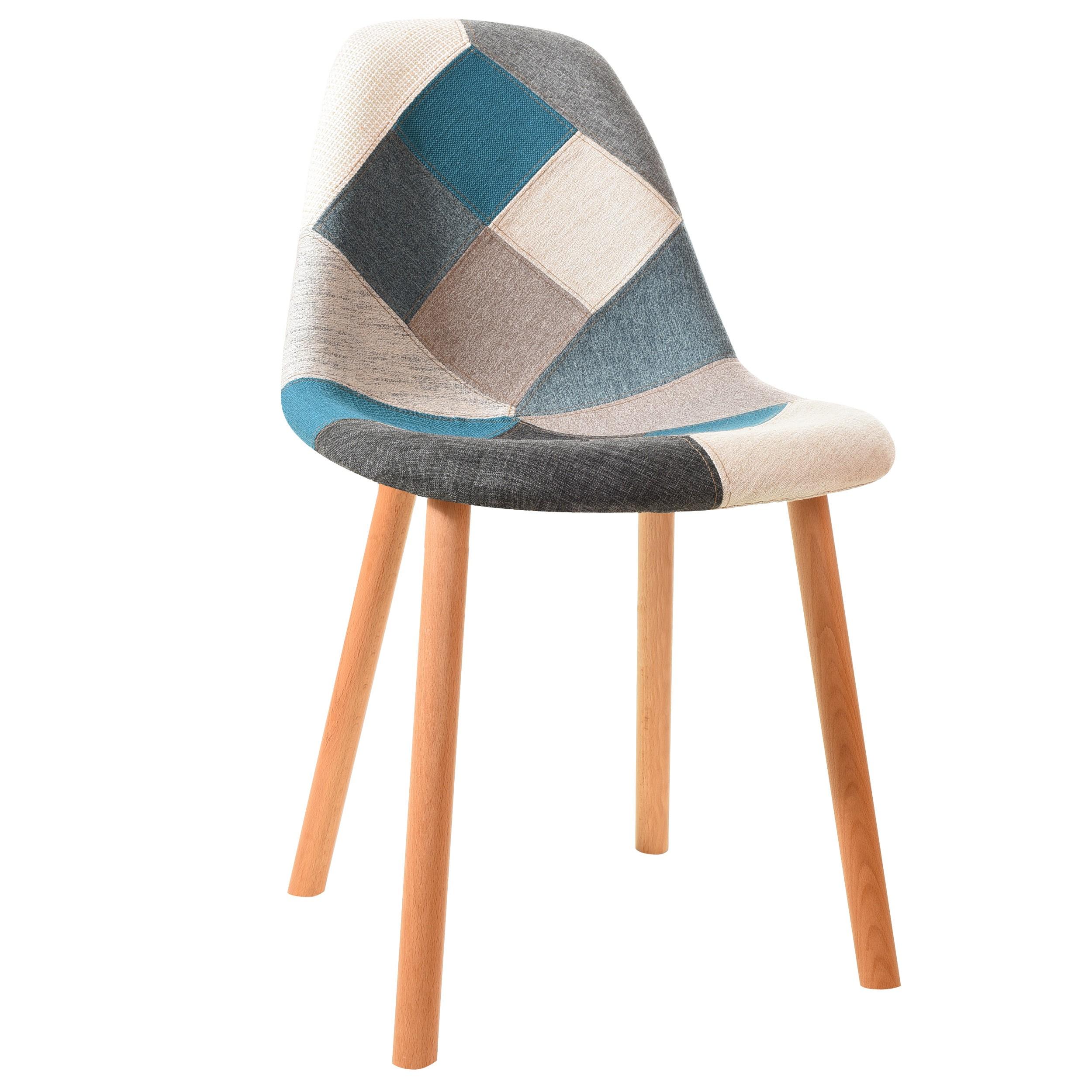 Chaise Nordik patchwork bleue (lot de 6)