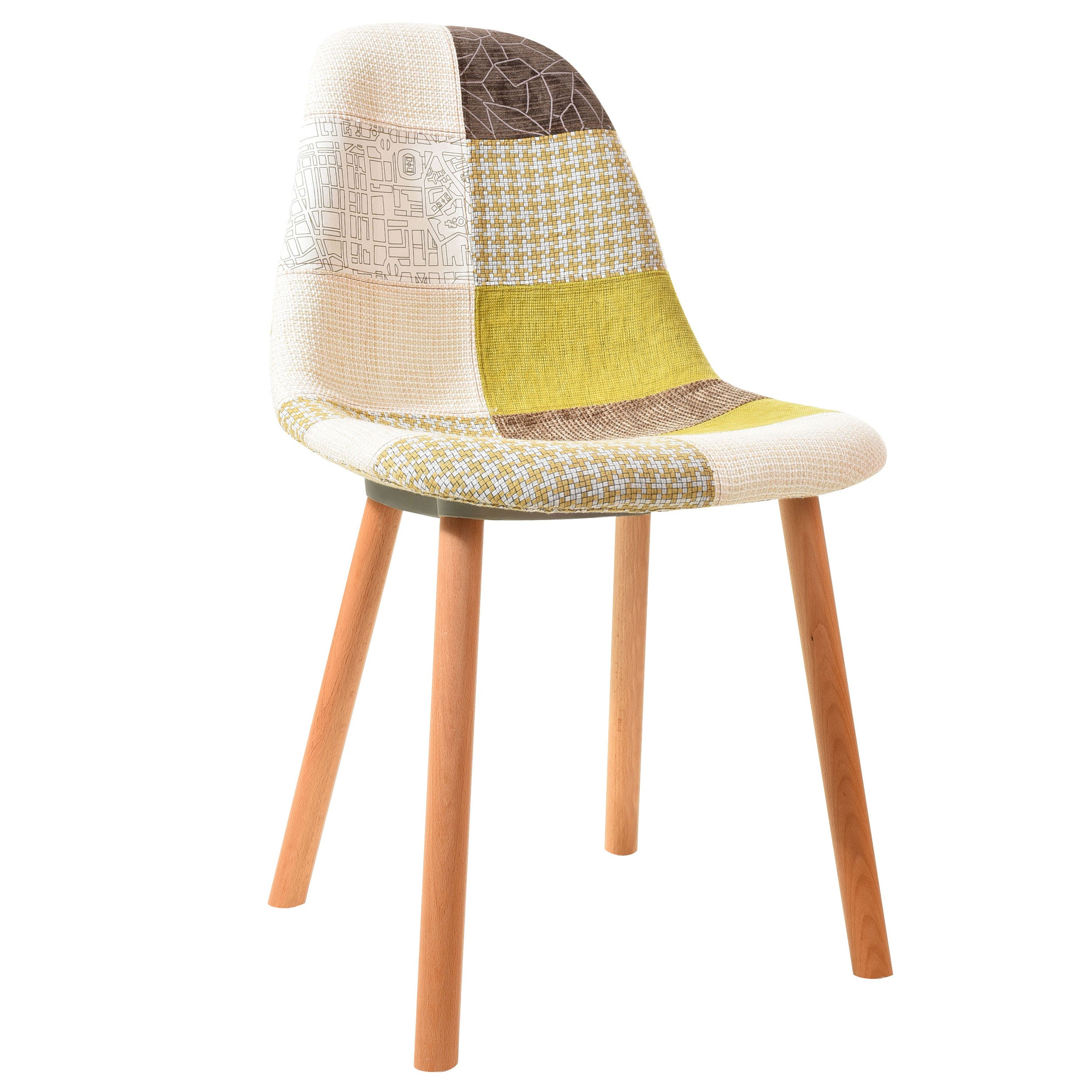 Chaise Nordik patchwork jaune (lot de 2)