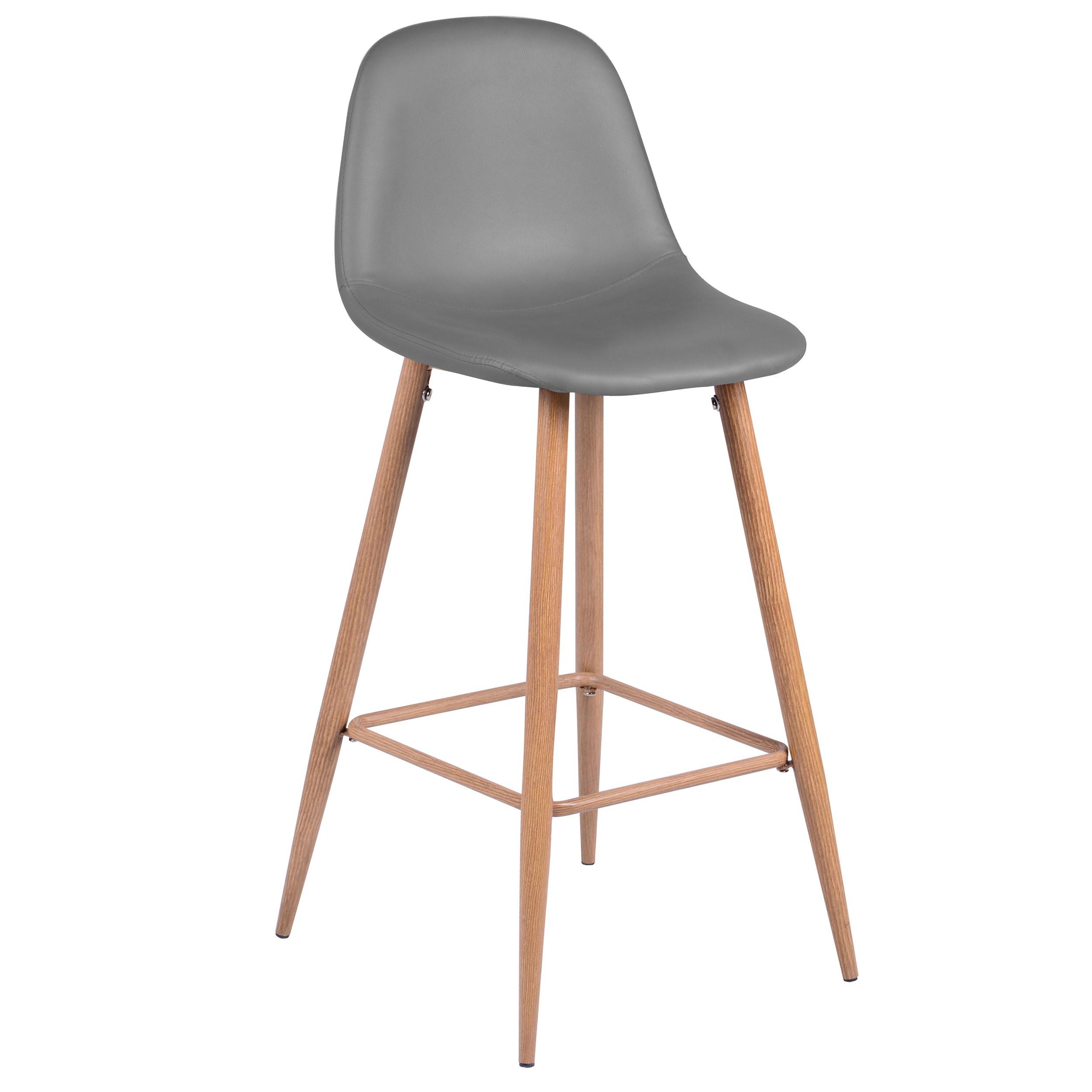 Chaise de bar scandinave grise en cuir synthétique (lot de 5)