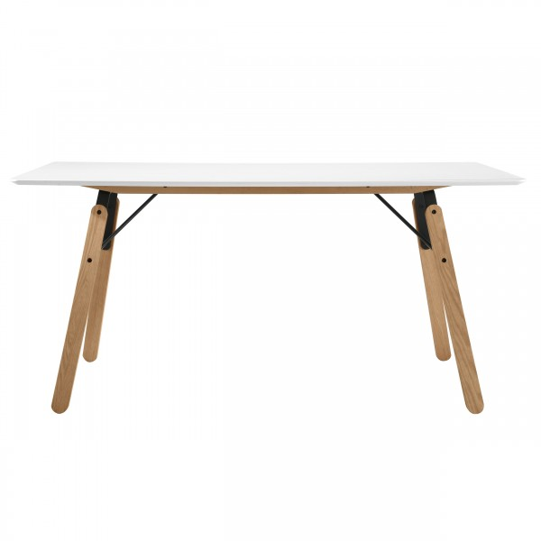 Table rectangulaire Snow blanc 160 cm