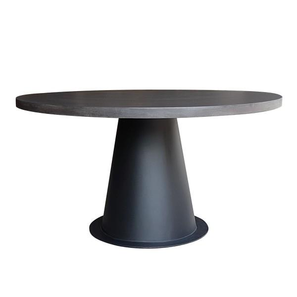 Table ronde design lavastone et métal 140 cm