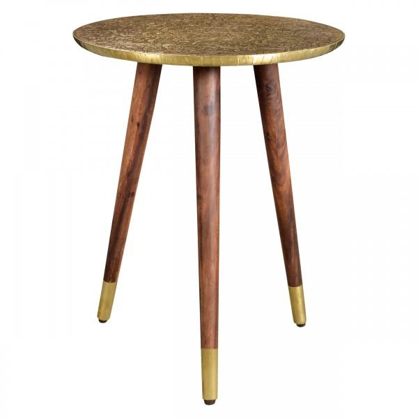 Table d'appoint ronde Goa dorée