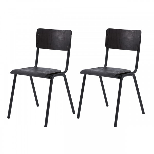 Chaise Fergus en bois noir
