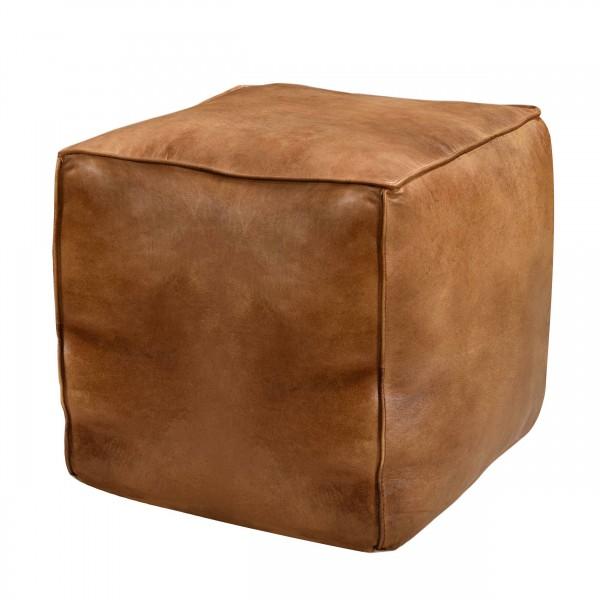 Pouf en cuir Albah carré marron