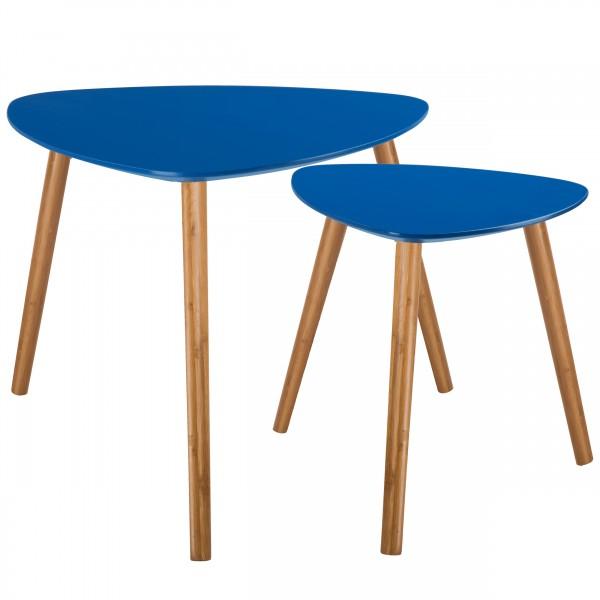 Tables basses gigognes en bois bleu foncé (lot de 2)