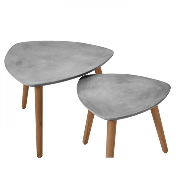 Table basse scandinave gigogne en béton et bois d'acacia (lot de 2)