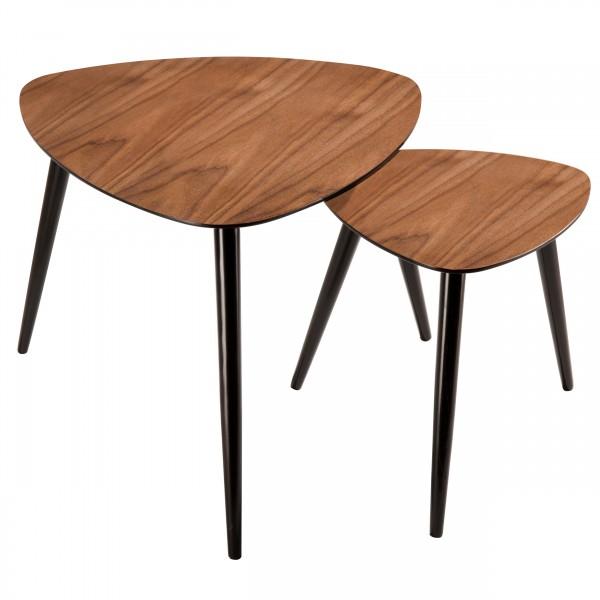 Tables basses gigognes en bois foncé (lot de 2)