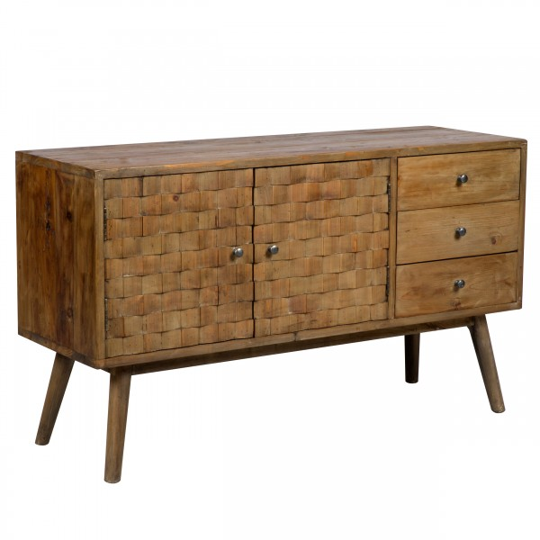 Buffet Chitra 2 portes 3 tiroirs en bois recyclé