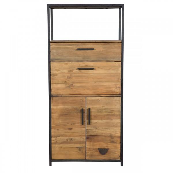 Buffet haut à tiroirs 2 portes en bois recyclé