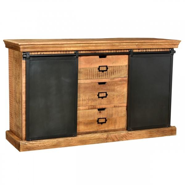 Buffet Rutva trois tiroirs en bois deux portes en métal