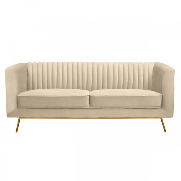 Canapé alicia 2 places en velours beige pieds dorés