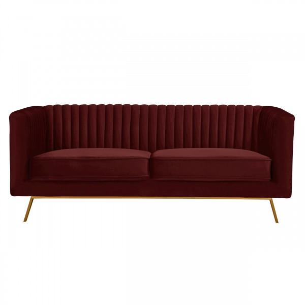 Canapé alicia 2 places en velours bordeaux pieds dorés