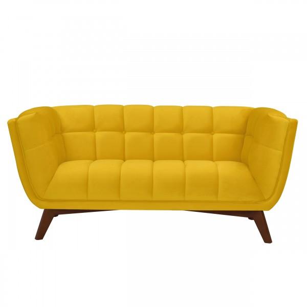Canapé léonie 2 places en velours jaune