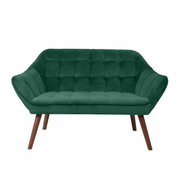 Canapé berenice 2 places en velours vert foncé et pieds en bois foncé