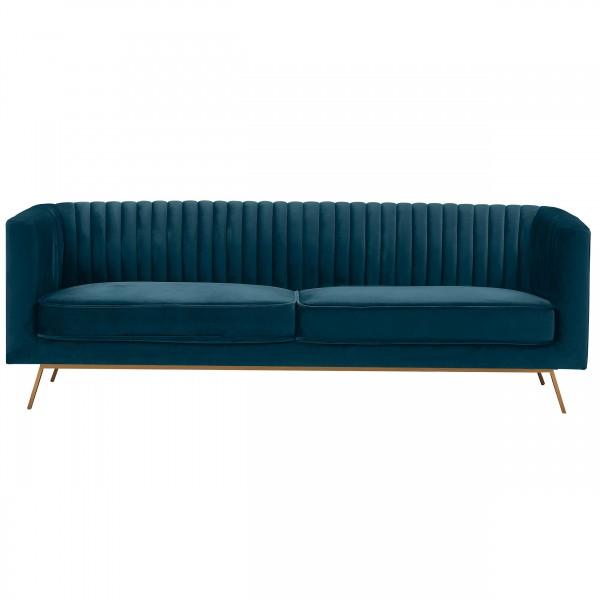 Canapé tony 3 places en velours bleu foncé pieds dorés