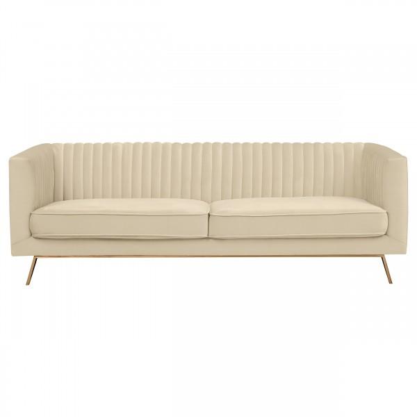 Canapé tony 3 places en velours beige pieds dorés