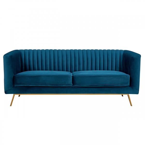 Canapé alicia 2 places en velours bleu foncé pieds dorés