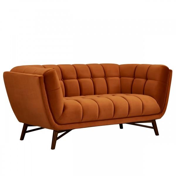 Canapé Kebon 2 places en velours orange