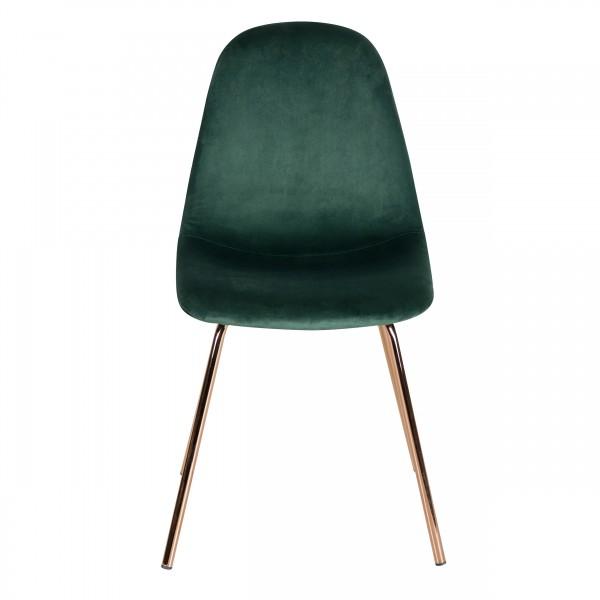 Chaise jena style art déco en velours vert et pieds en métal imitation or rose (lot de 2)