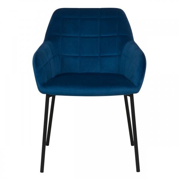 Chaise lucy en velours bleu foncé et pieds en métal noir (lot de 2)