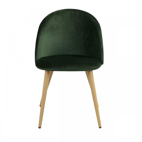 Chaise ally scandinave en velours vert foncé et pieds en métal imitation bois (lot de 2)