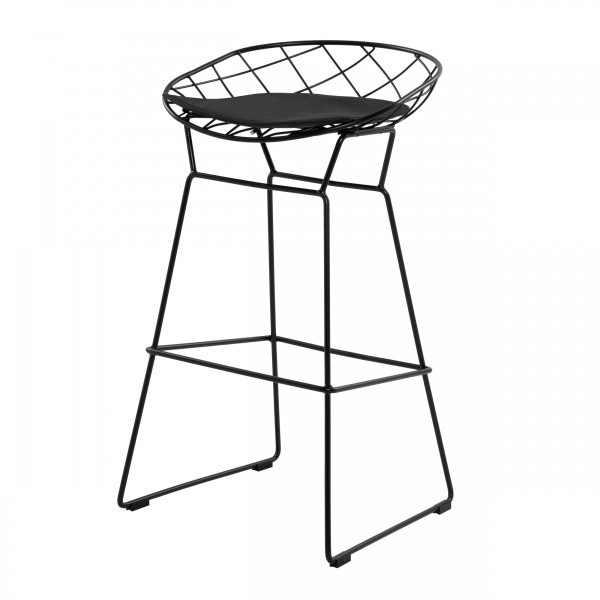 Chaise de bar avec repose pieds en métal et coussin noir