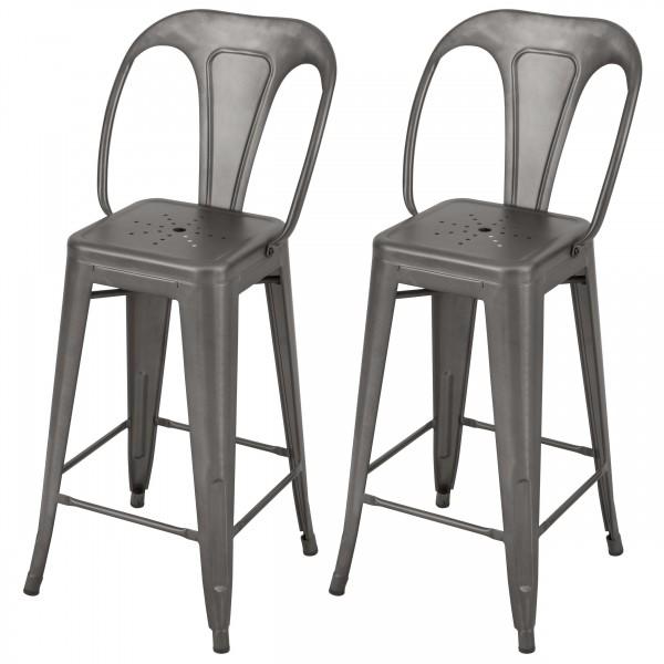 Chaise de bar H 66 cm en métal Atelier gris acier (lot de 2)