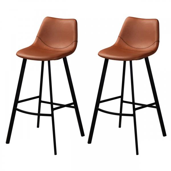 Chaise de bar Vichea  similicuir vintage marron (lot de 2)